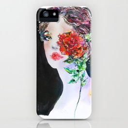 Girl with a rose Fashion Illustration iPhone Case