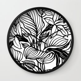 White Black Floral Minimalist Wall Clock