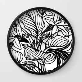 White Black Floral Minimalist Wall Clock