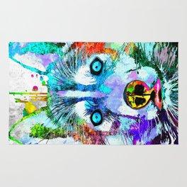 Husky Dog Watercolor Grunge Rug