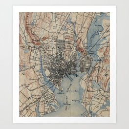 Vintage Map of New Haven Connecticut (1890) Art Print