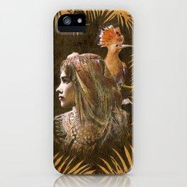 Vintage Decorative Girl and Bird Portrait iPhone Case