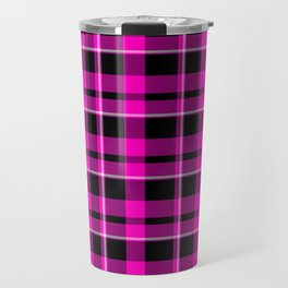 Hot Pink Plaid Travel Mug
