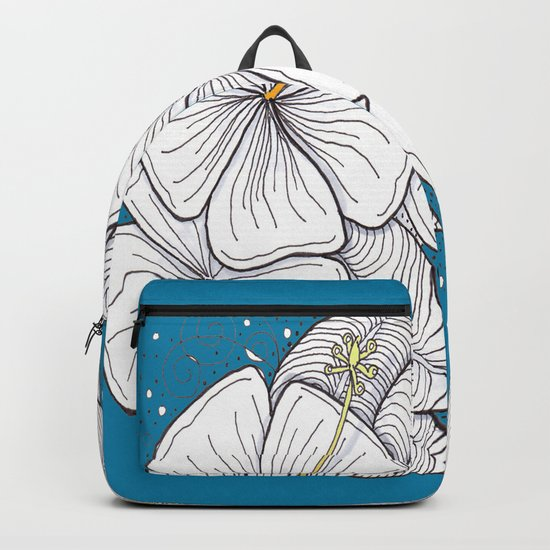 Zentangle Blue and Gold Hibiscus Blossoms for Flower Lovers Backpack