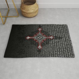 Noble House II CRUSADER RED / Grungy heraldry design Rug