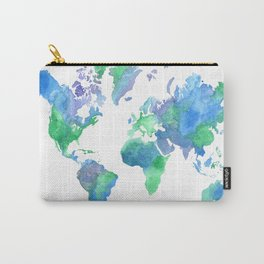 Watercolor Worldmap Carry-All Pouch