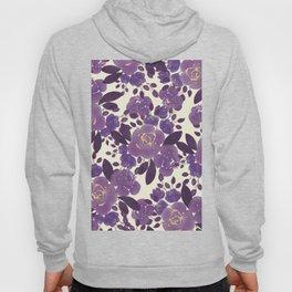 Elegant ivory gold lavender purple watercolor floral  Hoody