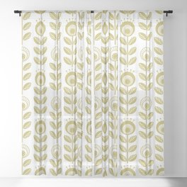 SCANDI GARDEN 01-2, mustard yellow on white Sheer Curtain