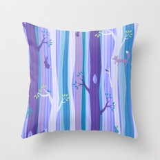Purple Woodland Stripe Throw Pillow