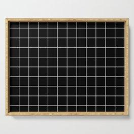 Grid Simple Line Black Minimalist Serving Tray