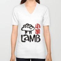 lamb V-neck T-shirts featuring Lamb by biblebox