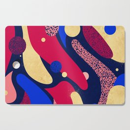 Psychedelic terrazzo galaxy blue night gold red Cutting Board