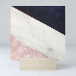 Rose Glitter, Gold, Marble And Navy Blue Abstract Art Mini Art Print