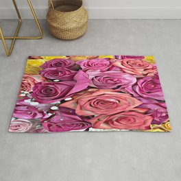 Pastel Multi-color Roses Rug