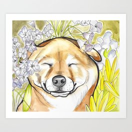 Jay Jay the happy Shiba Art Print