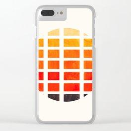 Watercolor Colorful Orange Minimalist Mid Century Modern Square Matrix Geometric Pattern Round Circl Clear iPhone Case