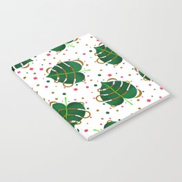 Monstera Leaves with Gold Pink and Green Geometric Confetti Notebook