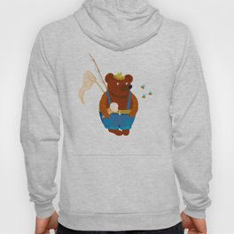 Bear summer resident with a fishing rod, ice cream and a landing net. Looks at the bees. Hoody
