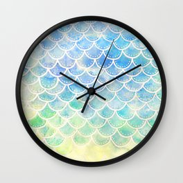 Pastel Watercolor Mermaid Scales Wall Clock