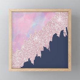Pink navy blue watercolor brushstrokes glitter Framed Mini Art Print