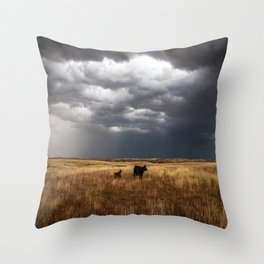 Life on the Plains - Cow Watches Over Playful Calf in Oklahoma Throw Pillow