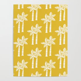 Palm Tree Pattern Mustard Yellow Poster