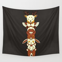 totem Wall Tapestries featuring Totem by Freeminds