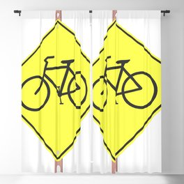 """""""Bicycles ahead"""" - 3d illustration of yellow roadsign isolated on white background Blackout Curtain"""
