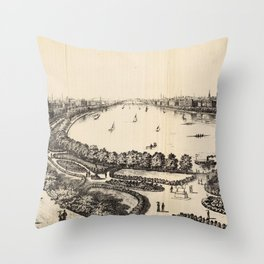 Vintage Pictorial Map of The Charles River (1886) Throw Pillow