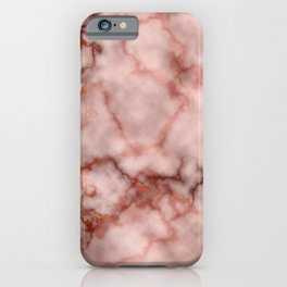 Pink and Copper Rose Veined Faux Marble Repeat iPhone Case