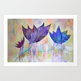 Just do you, trio of abstract lotus flowers Art Print