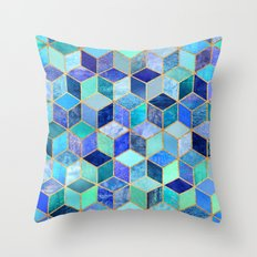 Blue Cubes Throw Pillow