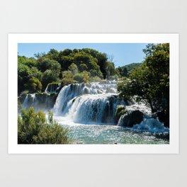 Waterfall in Krka National Park - Dalmatia,Croatia Art Print