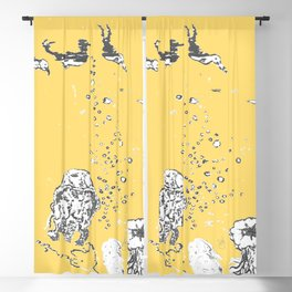 Two Tailed Duck and Jellyfish Pale Yellow Mellow Blackout Curtain