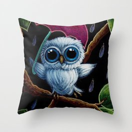 TINY BLUE OWL DANCING IN THE RAIN ILLUSTRATION Throw Pillow