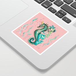 Mermaid Riding a Seahorse Prince Sticker