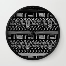 Mud Cloth on Black Wall Clock