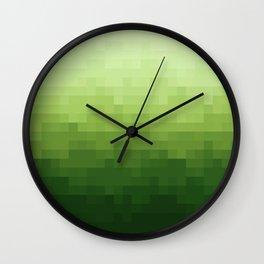 Gradient Pixel Green Wall Clock