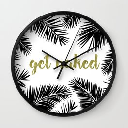 Get Naked Gold, Palm Leaves, Tropical, Black and White Wall Clock
