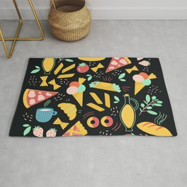 Italian food - Black chalkboard  Rug