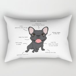 True Friends - Blue Frenchie Rectangular Pillow