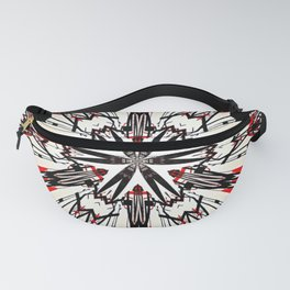 Red And Black Helping Hands Mandala Fanny Pack