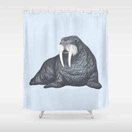 Frank Wallace in Blue | Nursery Art Walrus Drawing Shower Curtain