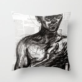 The Pledge - Charcoal on Newspaper Figure Drawing Throw Pillow