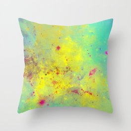 Pink Stars - Abstract space painting in yellow, blue and pink Throw Pillow