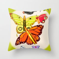 Bullet with Butterfly Wings Throw Pillow