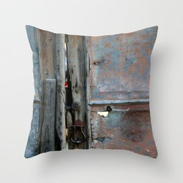 Rusty metal gate Throw Pillow