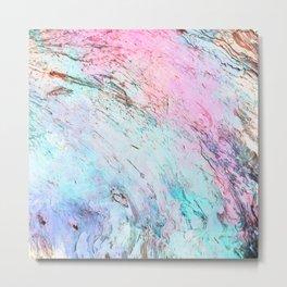 Abstract modern  pink teal lavender watercolor marble Metal Print
