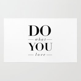 Do What You Love black-white typography poster design modern canvas was art home decor Rug