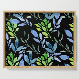 Blue and Green Leaves Serving Tray
